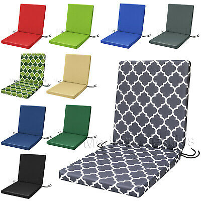 £24.99 • Buy WATERPROOF Low Back Chair Cushion SEAT PAD Removable Cover Patio Garden OUTDOOR