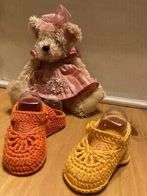Handmade Crochet Knitted  Newborn Baby Girls Booties  Mary Jane Shoes 3 Sizes • 4.85£