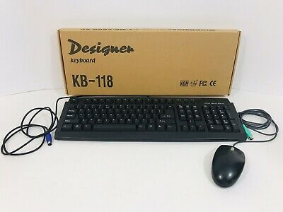 £20.56 • Buy Keyboard KB-118 And Mouse Corded Combo Computer PS/2 Port Wired Set Office Game