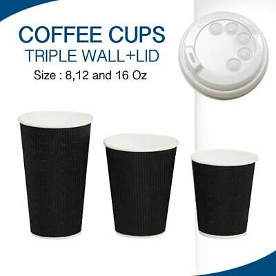 AU14.30 • Buy Coffee Cups Triple Wall Black Disposable 50,100,250,500 & 1000 CUPS + LIDS CHEAP
