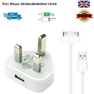 Genuine CE Plug Cable Charger Lead For Apple IPhone 4,4S,3GS,iPod,  • 2.99£