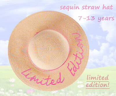 £7.90 • Buy Girls Limited Edition Pink Sequin Summer Straw Hat Foldable Floppy Sun Hat Cheap