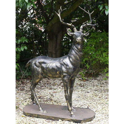 £895 • Buy Large Lifesize Cast Iron Standing Stag Deer Looking Right Statue Garden Bronze