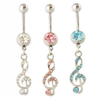Surgical Steel Crystal Music Note Belly Bar Size 12mm 14g / 1.6mm Pink Blue • 3.49£
