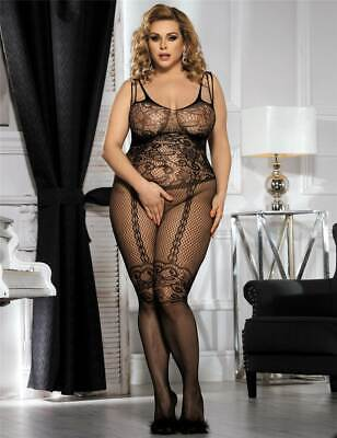 Sexy Black Fishnet & Lace Crotchless Full Body Stocking Lingerie Plus Size 14-18 • 8.95£