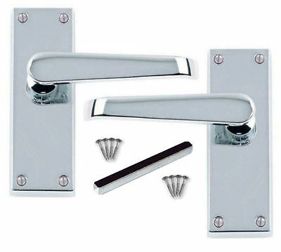 £7.95 • Buy Door Handles Victorian Straight Polished Chrome 1 - 16 Pairs Silver Lever Latch