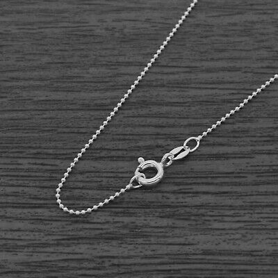 Genuine 925 Sterling Silver 1mm Round Bead Ball Chain Necklace • 3.85£