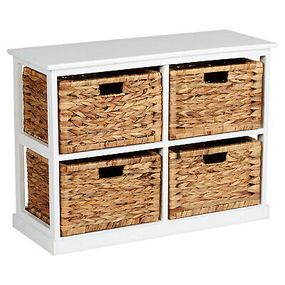 HARTLEYS 2x2 WHITE WOOD HOME STORAGE UNIT 4 WICKER DRAWER BASKETS CHEST/CABINET • 67.99£
