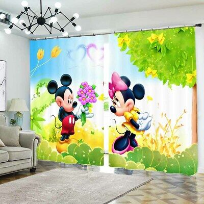Mickey Mouse Love 3D Blockout Photo Curtain Print Curtains Fabric Kids Window • 99.78£
