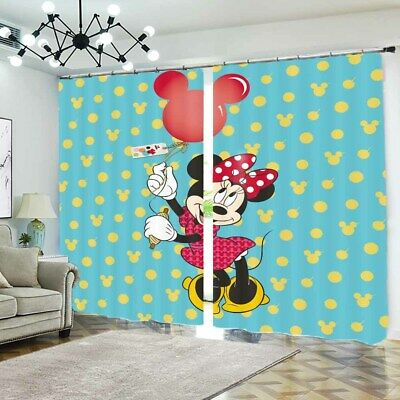 Mickey Mouse Doll 3D Blockout Photo Curtain Print Curtains Fabric Kids Window • 99.78£