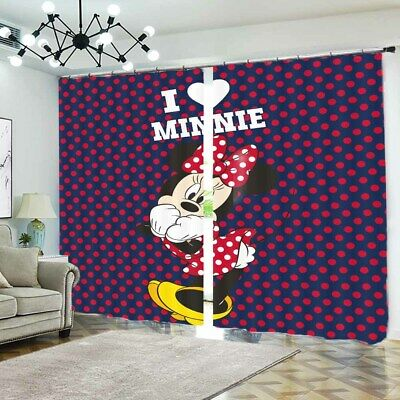 Mickey Mouse Pose 3D Blockout Photo Curtain Print Curtains Fabric Kids Window • 99.78£