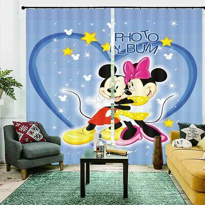 Mickey Mouse In Love 3D Blockout Photo Curtain Print Curtains Fabric Kids Window • 105.42£