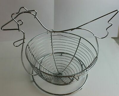 Egg Basket Holder Stainless Steel Chicken Hen Eggs Storage Organizer • 11.99£