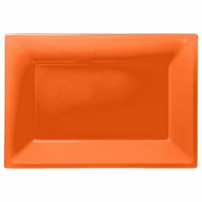 3 Colour Plastic Serving Platters Tray 33cm X 23cm Buffet Party Tableware Orange • 2.95£