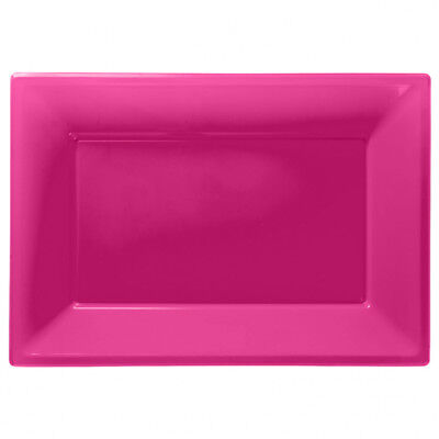 3 Colour Plastic Serving Platters Tray 33cm X 23cm Buffet Hot Pink • 2.95£