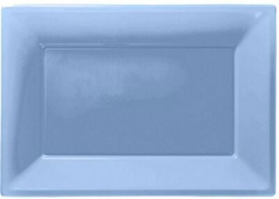 3 Colour Plastic Serving Platters Tray 33cm X 23cm Buffet Powder Blue • 2.95£