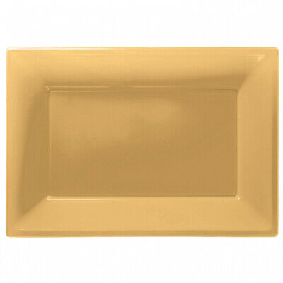 3 Colour Plastic Serving Platters Tray 33cm X 23cm Buffet Gold • 2.95£