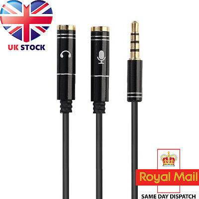 3.5mm Headset Adapter Y-Splitter Jack Cable W/ Separate Audio And Mic Headphone • 2.69£