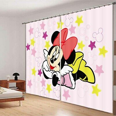 Mickey Mouse On Wing 3D Blockout Photo Curtain Print Curtains Fabric Kids Window • 105.42£