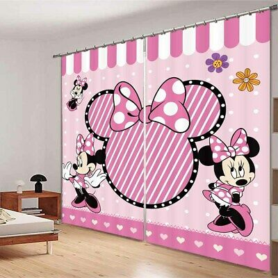 Mickey Mouse Bow 3D Blockout Photo Curtain Print Curtains Fabric Kids Window • 99.78£
