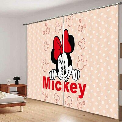 Red Mickey Mouse 3D Blockout Photo Curtain Print Curtains Fabric Kids Window • 99.78£