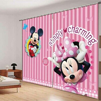 Cute Mickey Mouse 3D Blockout Photo Curtain Print Curtains Fabric Kids Window • 105.42£