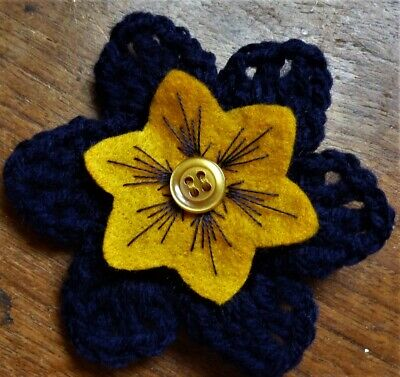 £3.50 • Buy CROCHET FLOWER CORSAGE BROOCH – Hand Crafted – Navy Blue + Embroidered Felt