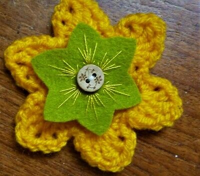 £3.50 • Buy CROCHET FLOWER CORSAGE BROOCH – Hand Crafted – Egg Yolk Yellow+ Embroidered Felt