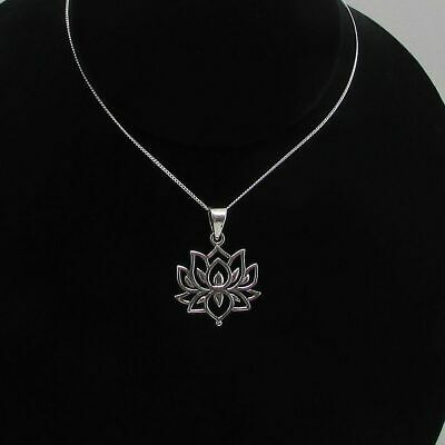 $ CDN28.42 • Buy Sterling Silver Open Design Lotus Flower Pendant 925 17  Chain
