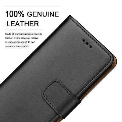 Real Leather Magnetic Flip Stand Wallet Case For Huawei Y9 2019,Y7 2019,Y6 2019 • 6.49£