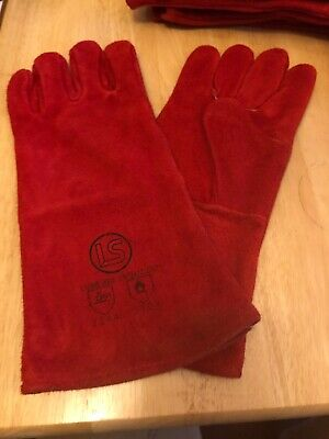 Red Superior Mig Welding Gauntlets Protective Gloves Heat Resistant Leather • 4£