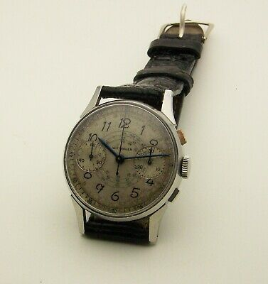 $ CDN1300.12 • Buy Vintage 32mm 1940's Stainless Steel Wittnauer Chronograph 13W Movement 17 Jewel