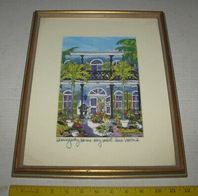 $69.99 • Buy Ann Irvine Signed Water Colored Print Key West Ernest Hemingway House Cats