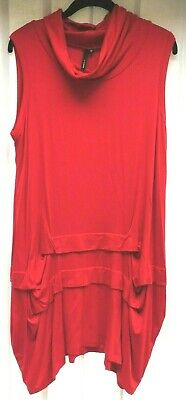£30 • Buy Yong Kim Sleeveless Modal Dress/tunic With Cowl Neck - Red - Size 12