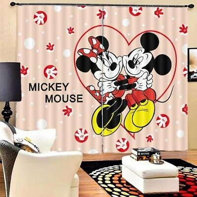 Mickey Mouse Heart 3D Blockout Photo Curtain Print Curtains Fabric Kids Window • 105.42£