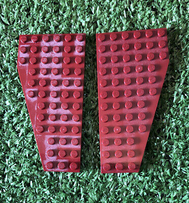 2 X Lego 6x12 Dark Red Wedge Wing Plates. Left And Right 30356 30355 • 3.20£