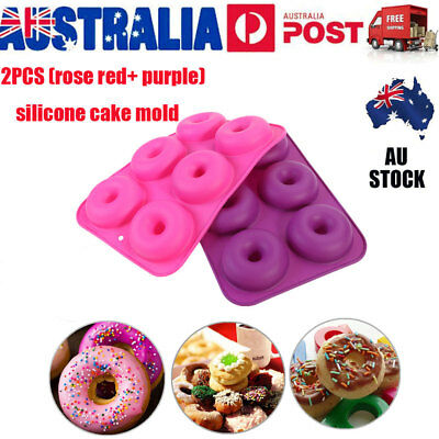 AU11.89 • Buy 2x Non-Stick 6 Slots Silicone Donut Baking Pan Mold Safe Tray Cake Bread Maker