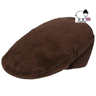 Brown Cord 100% Cotton Flat Cap - Made In UK - Sizes 56-62cm • 12£