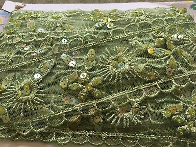 Vintage 70's Lace Fabric Ribbon, Trim, Edging - Green Sequins - By The Metre • 4.99£