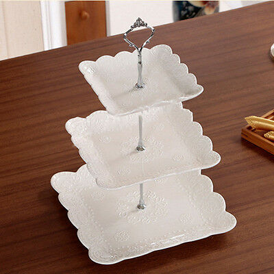 £3.19 • Buy 3 Tier Glass Plastic Cake Stand Afternoon Tea Wedding Plates Party Tableware UK