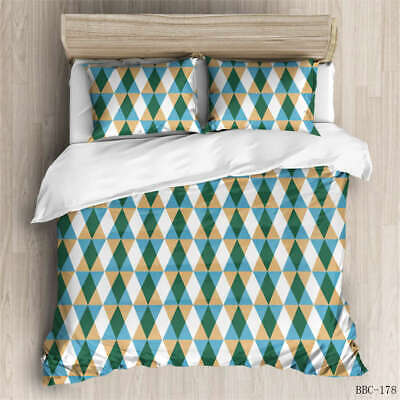 AU129.55 • Buy Green Triangle 3D Quilt Duvet Doona Cover Set Single Double Queen King Print