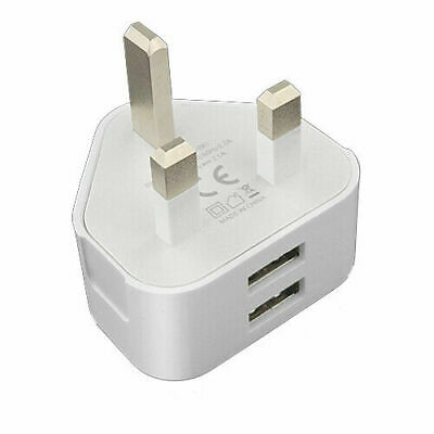 £5.99 • Buy UK Mains Wall 3 Pin Plug Adaptor Charger 2 & 1 USB Ports For Phones Tablets CE