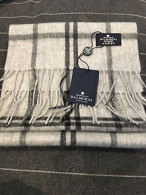 Scotland Balmoral Grey Windowpane Lambswool Scarf Superior Quality Warm New Soft • 16£