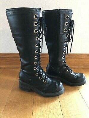 $22.99 • Buy Na Na Womens Black Goth Grunge Tall Side Zip Lace Up Combat Boots, Size 7, Used