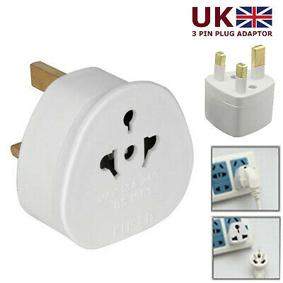 European USA / AUS 2 Pin To UK 3 Pin Plug Adaptor Euro EU Schuko Adapter Travel • 3.39£