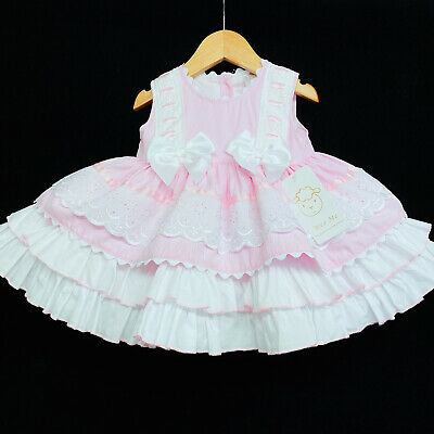 £39.99 • Buy New Arrival Beautiful Baby Girl Pink Spanish Puff Ball Dress With Bows Romany