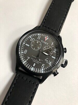 $105 • Buy Timex + Todd Snyder Watch  The Waterbury  Chronograph Black On Black Leather