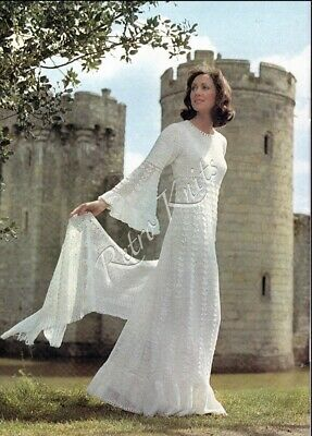 Vintage Crochet Pattern For A Fabulous Crochet Wedding Dress And Matching Stole • 1.95£