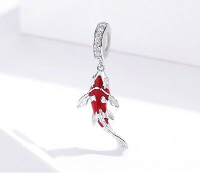 AU25.90 • Buy LUCKY FISH S925 Sterling Silver Charm By Charm Heaven NEW