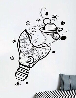 "NEW Light Bulb W/Planets Stars Galaxy Wall Art Decor Decal Sticker 24""x16"" • 10.23£"